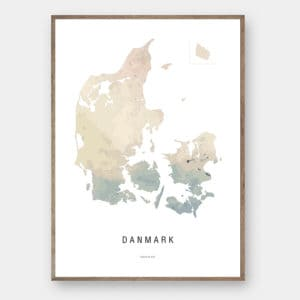 Danmark watercolor kort plakat Creative Dot