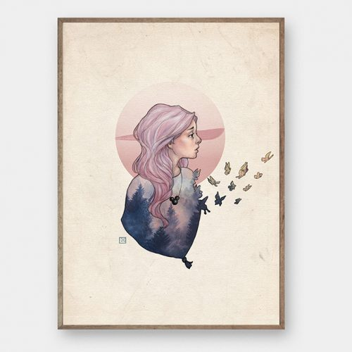 Illustration af Laura Olsen Girl with butterflies illustration creative dot