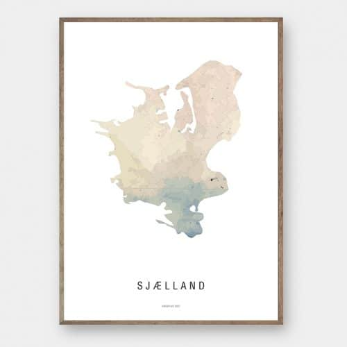 Sjælland watercolor kort plakat Creative Dot